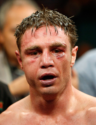 LAS VEGAS - SEPTEMBER 19:  Michael Katsidis appears after defeating Vincent Escobedo to win the WBO interim lightweight title at the MGM Grand Garden Arena September 19, 2009 in Las Vegas, Nevada. Katsidis won the fight by split decision.  (Photo by Ethan