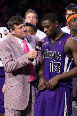 DALLAS - FEBRUARY 12:  Sportscaster Craig Sager interviews Tyreke Evans #13 of the Rookie team  in honor of his MVP award after the T-Mobile Rookie Challenge & Youth Jam part of 2010 NBA All-Star Weekend at American Airlines Center on February 12, 2010 in
