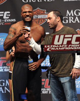 LAS VEGAS - MAY 28:  UFC fighter Quinton 'Rampage' Jackson (L) speaks to Joe Rogan (R) and the crowd about his fight against UFC fighter Rashad Evans at UFC 114: Rampage versus Rashad at the Mandalay Bay Hotel on May 28, 2010 in Las Vegas, Nevada.  (Photo
