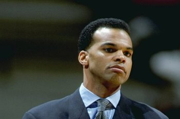 4 Jan 1999: Head coach Tommy Amaker of the Seton Hall Pirates watches during the game against the Georgetown Hoyas at the Continental Airlines Arena in East Rutherford, New Jersey. The Pirates defeated the Hoyas 61-72. Mandatory Credit: Al Bello  /Allspor