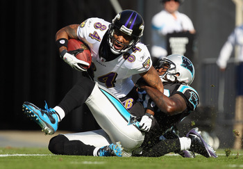 Baltimore Ravens veteran Wide Receiver T.J. Houshmandzadeh beating Chris Gamble and Charles Godfrey for a touchdown.