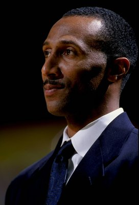 25 Nov 1998: Assistant coach Johnny Dawkins of the Duke Blue Devils watches from the bench during the Carrs Great Alaska Shootout Game against the Notre Dame Fighting Irish at the Sullivan Arena in Anchorage, Alaska. Duke defeated Notre Dame 111-82. Manda