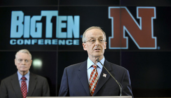 LINCOLN, NE. - JUNE 11:  University of Nebraska Chancellor Harvey Pearlman and  Athletic Director Tom Osbourne(L) speaks at a press conference announcing Nebraska accepting an invitation to join the Big Ten Conference June 11, 2010  in Lincoln, Nebraska.