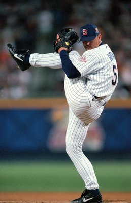 11 Jul 2000: Trevor Hoffman #5 of the National League Team winds back to pitch the ball during the All-Star Baseball Game against the American League Team at Turner Field in Atlanta, Georgia.  The American League Team defeated the National League Team 6-3