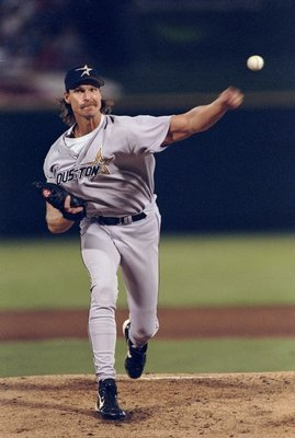 23 Sep 1998:  Pitcher Randy Johnson #51 of the Houston Astros throws a pitch during a game against the St. Louis Cardinals at Busch Stadium in St. Louis, Missouri. The Astros defeated the Cardinals 7-1. Mandatory Credit: Vincent Laforet  /Allsport