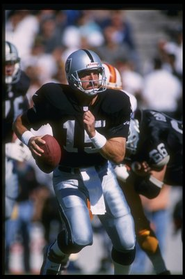 10 Nov 1996:  Quarterback Jeff Hostetler of the Oakland Raiders looks to pass the ball during a game against the Tampa Bay Buccaneers at Houlihan's Stadium in Tampa, Florida.  The Buccaneers won the game in overtime, 20-17. Mandatory Credit: Scott Hallera
