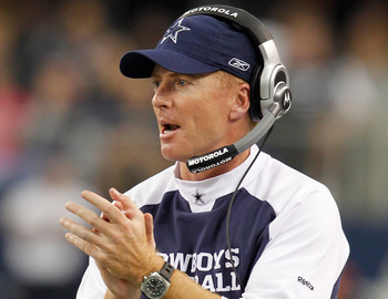 ARLINGTON, TX - NOVEMBER 21:  Head coach Jason Garrett of the Dallas Cowboys leads his team against the Detroit Lions late in the fourth quarter at Cowboys Stadium on November 21, 2010 in Arlington, Texas.  The Cowboys beat the Lions 35-19.  (Photo by Tom