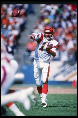 2 Sep 1984:  Cincinnati Bengals quarterback Ken Anderson throws a pass during game against the Denver Bronos at Mile High Stadium in Denver, Colorado.  The Broncos won the game 20-17. Mandatory Credit: Allsport  /Allsport