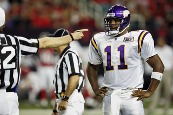 ATLANTA - OCTOBER 2:  Quarterback Daunte Culpepper #11 of the Minnesota Vikings gets called for intentional grounding in the fourth quarter against the Atlanta Falcons on October 2, 2005 at the Georgia Dome in Atlanta, Georgia. The Falcons won 30-10.  (Ph