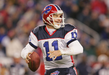 FOXBORO, MA - NOVEMBER 14:  Quarterback Drew Bledsoe #11 of the Buffalo Bills passes the ball against the New England Patriots during the game at Gillette Stadium on November 14, 2004 in Foxboro, Massachusetts. The Patriots defeated the Bills 29-6.  (Phot