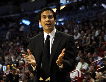 MIAMI - NOVEMBER 06:  Head coach Erik Spoelstra of the Miami Heat calls plays against the New Jersey Nets  at American Airlines Arena on November 6, 2010 in Miami, Florida. NOTE TO USER: User expressly acknowledges and agrees that, by downloading and or u