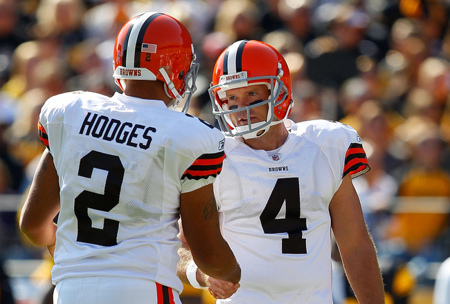 PITTSBURGH - OCTOBER 17:  Phil Dawson #4 is congratulated by teammate Reggie Hodges #2 after kicking a field goal against the Pittsburgh Steelers of the Cleveland Browns during the game on October 17, 2010 at Heinz Field in Pittsburgh, Pennsylvania.  (Pho