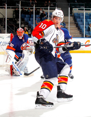UNIONDALE, NY - NOVEMBER 20:  David Booth #10 of the Florida Panthers skates into position during a hockey game against the New York Islanders at the Nassau Coliseum on November 20, 2010 in Uniondale, New York.  (Photo by Paul Bereswill/Getty Images)