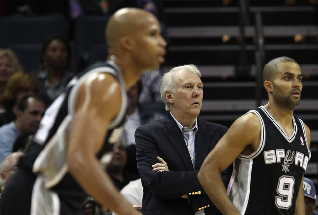 CHARLOTTE, NC - NOVEMBER 08:  Head coach Gregg Popovich of the San Antonio Spurs against the Charlotte Bobcats at Time Warner Cable Arena on November 8, 2010 in Charlotte, North Carolina.  NOTE TO USER: User expressly acknowledges and agrees that, by down