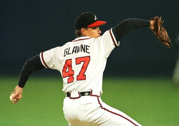 28 OCT 1995:  TOM GLAVINE OF ATLANTA DELIVERS A PITCH IN THE FIRST INNING OF GAME SIX  OF THE WORLD SERIES AGAINST THE INDIANS AT FULTON COUNTY STADIUM IN ATLANTA, GEORGIA.  Mandatory Credit: Rick Stewart/ALLSPORT