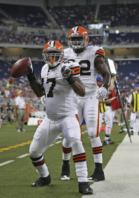 DETROIT - AUGUST 28: Lawrence Vickers #47 of the Cleveland Browns scores a second quarter touchdown against the Detroit Lions as teammate Benjamin Watson #82 joins the celebration during the preseason game at Ford Field on August 28, 2010 in Detroit, Mich