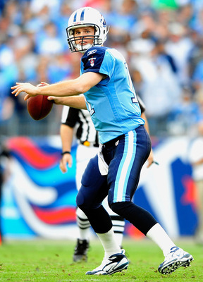 NASHVILLE, TN - NOVEMBER 21:  Quarterback Rusty Smith #11 of the Tennessee Titans drops back to pass against the Washington Redskins at LP Field on November 21, 2010 in Nashville, Tennessee. The Redskins won 19-16 in overtime.  (Photo by Grant Halverson/G