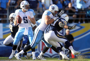 SAN DIEGO - OCTOBER 31:  Quarterback Kerry Collins #5 of the Tennessee Titans drops back to pass against the San Diego Chargers in the game at Qualcomm Stadium on October 31, 2010 in San Diego, California.  (Photo by Jeff Gross/Getty Images)
