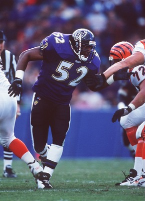 Ray Lewis taking the field as a rookie