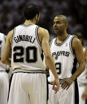 SAN ANTONIO - MAY 27:  (R-L) Tony Parker #9 and Manu Ginobili #20 of the San Antonio Spurs talk while taking on the Los Angeles Lakers in Game Four of the Western Conference Finals during the 2008 NBA Playoffs on May 27, 2008 at the AT&T Center in San Ant
