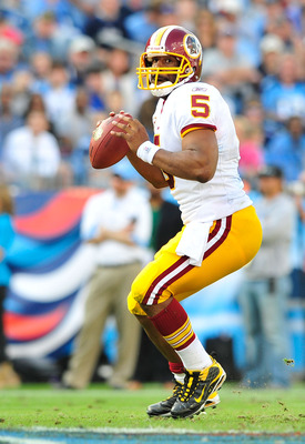NASHVILLE, TN - NOVEMBER 21:  Quarterback Donovan McNabb #5 of the Washington Redskins drops back to pass against the Tennessee Titans at LP Field on November 21, 2010 in Nashville, Tennessee. The Redskins won 19-16 in overtime.  (Photo by Grant Halverson