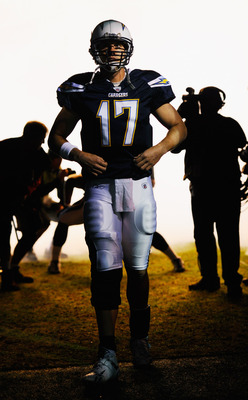 SAN DIEGO - NOVEMBER 22:  Quarterback Philip Rivers #17 of the San Diego Chargers waits to be introduced prior to the start of the NFL football game against Denver Broncos at Qualcomm Stadium on November 22, 2010 in San Diego, California.  (Photo by Kevor