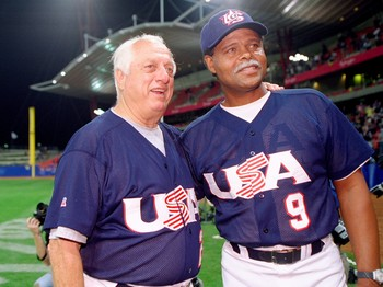 27 Sep 2000:  USA coachs Tommy Lasorda and Reggie Smith celebrate gold after victory in the Baseball Final against Cuba at the Baseball Stadium in the Olympic Park on Day 12 of the Sydney 2000 Olympic Games in Sydney, Australia. \ Mandatory Credit: JamieS