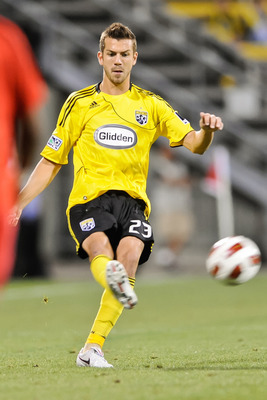 COLUMBUS, OH - SEPTEMBER 14:  Eric Brunner #23 of the Columbus Crew controls the ball against Joe Public FC on September 14, 2010 at Crew Stadium in Columbus, Ohio.  (Photo by Jamie Sabau/Getty Images)
