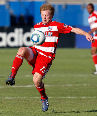 FRISCO, TX - OCTOBER 30:  Midfielder Dax McCarty #13 of FC Dallas moves the ball against Real Salt Lake at Pizza Hut Park on October 30, 2010 in Frisco, Texas.  FC Dallas beat Real Salt Lake 2-1.  (Photo by Tom Pennington/Getty Images)