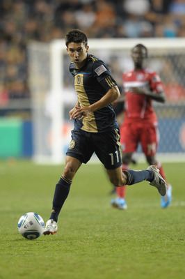 CHESTER, PA- SEPTEMBER 11: Shea Salinas #11 of the Philadelphia Union kicks the ball during the game against the Chicago Fire at PPL Park on September 11, 2010  in Chester, Pennsylvania. The Union won 1-0. (Photo by Drew Hallowell/Getty Images)