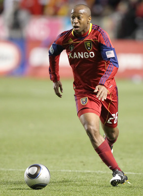 SANDY, UT - NOVEMBER 6: Collen Warner #26 of Real Salt Lake brings the ball down field during a game against FC Dallas during the second half of an MLS play off game November 6, 2010 at Rio Tinto Stadium in Sandy, Utah. Real Slat Lake and FC Dallas tied 1