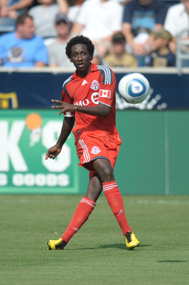 CHESTER, PA - JULY 17: Fuad Ibrahim #7 of Toronto FC kicks the ball during the game against Philadelphia Union at PPL Park on July 17, 2010 in Chester, Pennsylvania. The Union won 2-1. (Photo by Drew Hallowell/Getty Images)