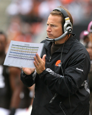 CLEVELAND - OCTOBER 03:  Head coach Eric Mangini of the Cleveland Browns claps his hands during their game against the Cincinnati Bengals at Cleveland Browns Stadium on October 3, 2010 in Cleveland, Ohio.  (Photo by Matt Sullivan/Getty Images)