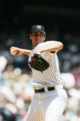 NEW YORK - JUNE 22:  Carl Pavano #45 of the New York Yankees pitches against the Tampa Bay Devil Rays on June 22, 2005 at Yankee Stadium in the Bronx, New York.  The Devil Rays won 5-3.  (Photo by Al Bello/Getty Images)