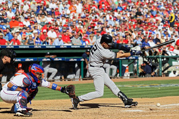 ARLINGTON, TX - OCTOBER 16:  Derek Jeter #2 of the New York Yankees hits a single in the third inning against the Texas Rangers in Game Two of the ALCS during the 2010 MLB Playoffs at Rangers Ballpark in Arlington on October 16, 2010 in Arlington, Texas.