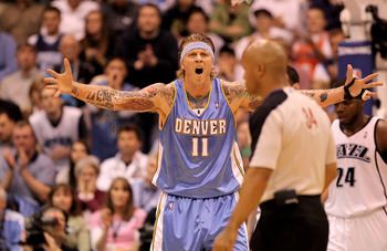 SALT LAKE CITY - APRIL 30:  Chris Andersen #11 of the Denver Nuggets reacts after a call during their game against the Utah Jazz during Game Six of the Western Conference Quarterfinals of the 2010 NBA Playoffs at EnergySolutions Arena on April 30, 2010 in