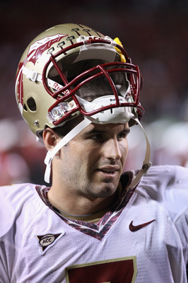 RALEIGH, NC - OCTOBER 28:  Christian Ponder #7 of the Florida State Seminoles against the North Carolina State Wolfpack during their game at Carter-Finley Stadium on October 28, 2010 in Raleigh, North Carolina.  (Photo by Streeter Lecka/Getty Images)