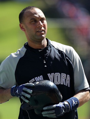 ARLINGTON, TX - OCTOBER 16:  Derek Jeter #2 of the New York Yankees looks on during batting practice against the Texas Rangers in Game Two of the ALCS during the 2010 MLB Playoffs at Rangers Ballpark in Arlington on October 16, 2010 in Arlington, Texas.