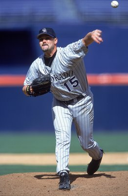 19 Apr 2001:  Denny Neagle #15 of the Colorado Rockies pitches during the game against the San Diego Padres at Qualcomm Park in San Diego, California. The Rockies defeated the Padres 4-0.Mandatory Credit: Donald Miralle  /Allsport