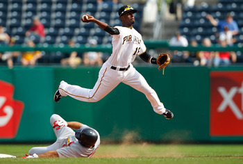 PITTSBURGH - SEPTEMBER 23:  Pedro Ciriaco #16 of the Pittsburgh Pirates turns a double play against the St Louis Cardinals during the game on September 23, 2010 at PNC Park in Pittsburgh, Pennsylvania.  (Photo by Jared Wickerham/Getty Images)