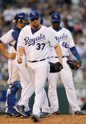 KANSAS CITY, MO - AUGUST 14:  Starting pitcher Sean O'Sullivan #37 of the Kansas City Royals walks off the field during the game against the New York Yankees on August 14, 2010 at Kauffman Stadium in Kansas City, Missouri.  (Photo by Jamie Squire/Getty Im