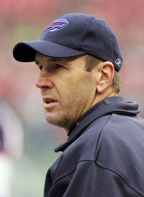 EAST RUTHERFORD, NJ - JANUARY 1: Head coach Mike Mularkey of the Buffalo Bills looks on during their game against the New York Jets on January 1, 2006 at Giants Stadium in East Rutherford, New Jersey.The Jets defeated the Bills 30-26.(Photo by Jim McIsaac