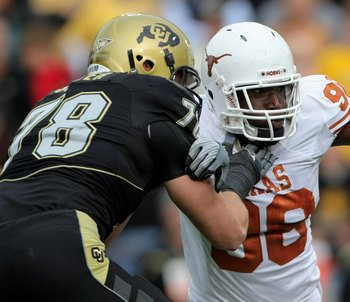 BOULDER, CO - OCTOBER 04:  Brian Orakpo #98 of the Texas Longhorns rushes against Nate Solder #78 the Colorado Buffaloes at Folsom Field on October 4, 2008 in Boulder, Colorado. Texas defeated Colorado 38-14.  (Photo by Doug Pensinger/Getty Images)