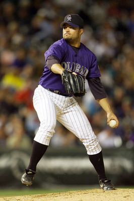 06 Sep 2001: Mike Hampton of the Colorado Rockies winds up for a pitch against the Los Angeles Dodgers during the game at Coors Field in Denver, Colorado.  The Dodgers won 9-5. DIGITAL IMAGE. Mandatory Credit : Brian Bahr/Allsport