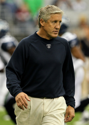 GLENDALE, AZ - NOVEMBER 14:  Head coach Pete Carroll of the Seattle Seahawks watches warmups for the game with the Arizona Cardinals at University of Phoenix Stadium on November 14, 2010 in Glendale, Arizona.  (Photo by Stephen Dunn/Getty Images)