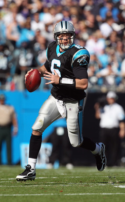 CHARLOTTE, NC - NOVEMBER 21:  Brian St. Pierre #6 of the Carolina Panthers against the Baltimore Ravens at Bank of America Stadium on November 21, 2010 in Charlotte, North Carolina.  (Photo by Streeter Lecka/Getty Images)