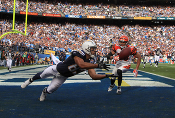 SAN DIEGO, CA - DECEMBER 20:  Wide Receiver Vincent Jackson #83 of the San Diego Chargers catches a touchdown pass in the 1st half against Leon Hall #29 of Cincinnati Bengals during the NFL Game on December 20, 2009 at Qualcomm Stadium in San Diego, Calif