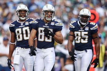 SAN DIEGO - JANUARY 17:  Malcom Floyd #80, Vincent Jackson #83 and Antonio Gates #85 of the San Diego Chargers walk on the field during the AFC Divisional Playoff Game against the New York Jets at Qualcomm Stadium on January 17, 2010 in San Diego, Califor