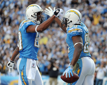 SAN DIEGO - NOVEMBER 29:  Antonio Gates #85 of the San Diego Chargers celebrates his second touchdown of the game with Vincent Jackson #83 against the Kansas City Chiefs during the second quarter at Qualcomm Stadium on November 29, 2009 in San Diego, Cali