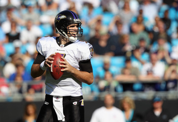 CHARLOTTE, NC - NOVEMBER 21:  Joe Flacco #5 of the Baltimore Ravens against the Carolina Panthers at Bank of America Stadium on November 21, 2010 in Charlotte, North Carolina.  (Photo by Streeter Lecka/Getty Images)